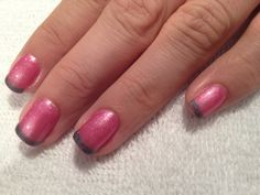 Pink base with gray French. Gelish nails