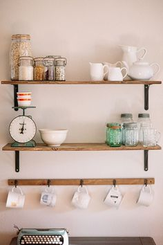 Living With Kids: Alison Little -why am I not hanging mugs like this? I need more space in the cupboard (for wine glasses - duh) Diy Home Bar, Diy Home Decor, Room Decor, Kitchen Styling, Kitchen Decor, Kitchen Ideas, Kitchen Design, Hanging Mugs, Hippie Home Decor