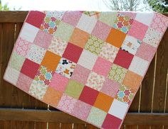 Surfer Beach Baby Girl Quilt Pink Orange Green by JennyMsQuilts, $125.00