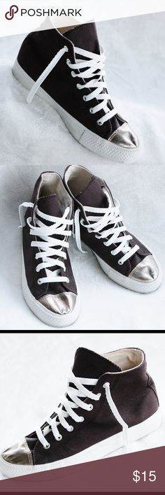 FOREVER 21  Canvas High Tops - Size 8 These brown canvas hightops have a metallic gold toe area.  They are in great condition! They have been very gently loved. Forever 21 Shoes Athletic Shoes