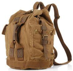 62cf850b88b3 sturdy dark brown vintage leather   canvas duffle bag - front view Men s  Vintage