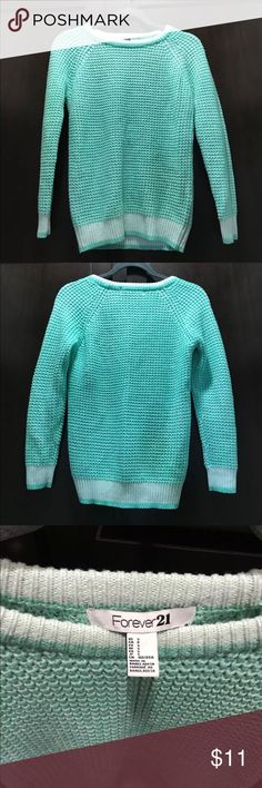 Forever 21 Mint Green Sweater. NWOT. Forever 21 Mint Green Sweater. Never been worn, no tags. Size Small. Measurement from armpit to armpit is 18 inches. Shoulder to bottom measures 25 inches. Forever 21 Sweaters Crew & Scoop Necks