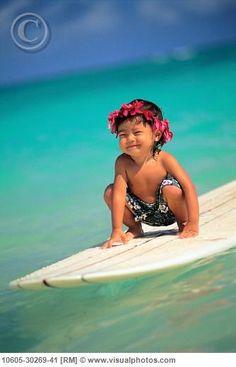 Alohaa ~ Little Surf boy, Hawaii...