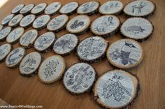 Rustic 4 Weddings: Nature Objects On Dictionary Paper On Wood Slices
