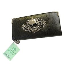 Herebuy  Cool Retro Skull Wallet for Women Vintage Clutch Bag Black ** You can get additional details at the image link.