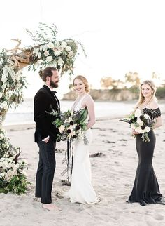 Think barefoot & Black Tie don't go hand in hand? Think again! This moody and elegant black tie beach wedding is perfect for an easy elevated experience. Beach Theme Wedding Dresses, Beach Bridesmaid Dresses, Beach Wedding Colors, Black Bridesmaids, Beach Wedding Reception, Beach Wedding Photos, Beach Wedding Decorations, Designer Wedding Dresses, Wedding Pictures