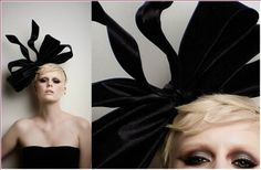ALISON:  Couture Bow Made On A Thin Velvet Headband With Black Crystal Satin With Black Flexible Ties And A Small Trim Band.