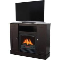 Living Room: fireplace tv stand