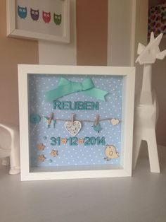 Affordable personalised gift idea IKEA frame I was challenged again☺️My friend needed a gift for Christening, he wanted something personalised. This is super simple and inexp… Baby Picture Frames, Baby Frame, Baby Box Frame Ideas, Box Frame Art, Box Frames, Craft Frames, Box Frame Ideas Diy Crafts, Baby Crafts, Diy And Crafts