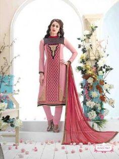 Beautiful Dusty Pink Designer Churidar Suit