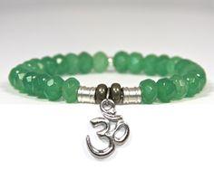 """what goes around comes around"" Green Jade Semi-Precious Stone bracelet with Karma Charm"