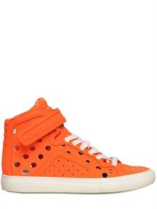 PIERRE HARDY - 20MM GUM & CALFSKIN HIGH TOP SNEAKERS - LUISAVIAROMA - LUXURY SHOPPING WORLDWIDE SHIPPING - FLORENCE