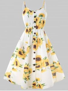 Button Flower Mid Slip Dress - multicolor M Girls Fashion Clothes, Teen Fashion Outfits, Cute Fashion, Outfits For Teens, Girl Outfits, Fashion Dresses, Floral Dress Outfits, Party Fashion, Cute Prom Dresses
