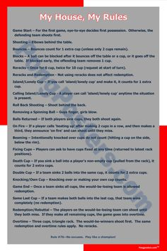 A high quality beer pong rule poster with custom rules. Red and white corner design.