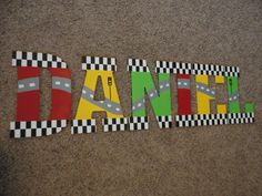 hand painted wooden letters cars and nascar large