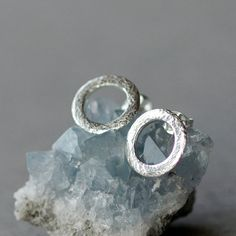 Sparkle Circle Earrings Brushed Sterling Silver by ShopClementine, $32.00