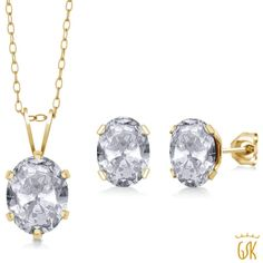 dac04e897 3.20 Ct Oval White Topaz 18K Yellow Gold Plated Silver Pendant Earrings Set