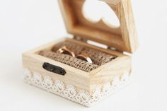 Wooden wedding box with a white lace trim - Ring bearer box, lace trim, romantic, rustic, ecofriendly, heart, vintage style