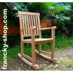 Rocking chair fauteuil à bascule en bois de teck