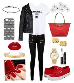 """Red Stays Classy"" by jocelyn-kaminsky ❤ liked on Polyvore featuring Superga, Longchamp, Paige Denim, Uncommon, Dogeared, Michael Kors, NARS Cosmetics and Lime Crime"