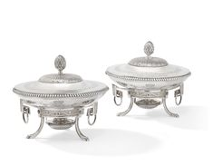 A pair of Louis XVI silver vegetable dishes, covers, stands and assorted lamps, Joseph, Auguste, Paris, Vegetable Dishes, Louis Xvi, Cutlery, Silver, Vintage, London
