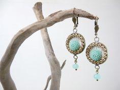Blue Flowers Earrings, Ivory Lace Earrings, Antique Brass, Romantic Aqua Blue Earrings, Shabby Chic, Floral Jewelry by TriccotraShop on Etsy