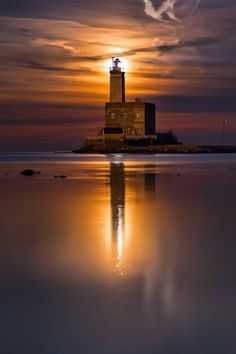 Lighthouse in Olbia, Sardinia Italy.