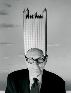 Architect Philip Johnson wearing a model of his 1984 Pittsburgh landmark, the PPG Building. By Josef Astor, 1996; costume designed and constructed by Joseph Hutchins. Works N.Y.; Vanity Fair, July 1996; © Josef Astor, 1996.