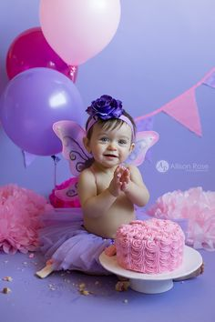 Allison Rose Photography First Birthday Cake Smash Pink and Purple Fairy Theme Butterfly