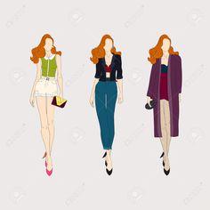 Ручной обращается моды девочек. Клипарты, векторы, и Набор Иллюстраций Без Оплаты Отчислений. Image 37032770.