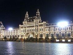 GUM Department Store at night, Red Square, Moscow, Russia #travel #russia