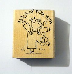 1996 Stampin Up! Hooray For You Wood & Foam Backed Rubber Stamp #Unbranded http://HomeTownVintage.com/ Great Sale 50% off All Our Stamps!! Lots of Vintage Scrap Booking Stamps From PSX (Personal Stamp Exchange), Hero Arts, Fearless Designs, Stampin Up!, DOTS and many more