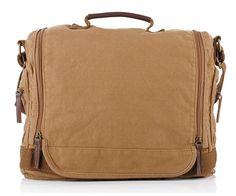SAIERLONG Men's And Women's messenger bags shoulder handbags Canvas Genuine Leather -- Read more  at the image link.
