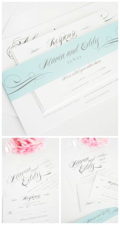 Teal and Gray Wedding Invitations - such a soft look!