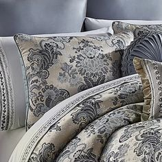 Luxury Comforter Sets, Bedroom Comforter Sets, Bedroom Sets, Bedrooms, Master Bedroom, Linen Bedding, Custom Home Designs, Custom Homes, Blue Duvet
