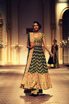 Green Anarkali for an Engagement