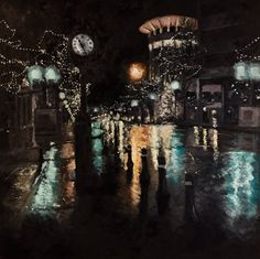 """Jonathan Moore on Twitter: """"My newest piece, completed! """"Main Street Nocturne 1"""" 36""""x36"""" oil on canvas #yeahTHATgreenville https://t.co/9chESQaXLH"""""""