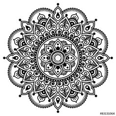 """Download the royalty-free vector """"Mehndi, Indian Henna tattoo pattern or background"""" designed by redkoala at the lowest price on Fotolia.com. Browse our cheap image bank online to find the perfect stock vector for your marketing projects!"""