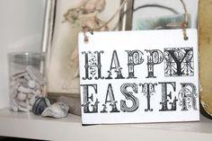 shabby Holzschild Frohe Ostern Happy Easter von Nostalgie Gretel häkelt und schenkt auf DaWanda.com