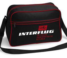 331cef55b632 Interflug Airlines DDR East German Retro Shoulder Messenger Flight Bag Red  Black