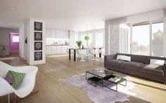CSL Immobilien AG Innenvisualisierung Zollikerberg - Zürich 3d Modellierung, Studios, Contemporary, Rugs, Home Decor, New Construction, Real Estates, Floor Layout, Architecture