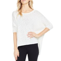 "Pledge to stay warm and chic this fall in this cream-colored sweater. A cool texture, elbow-length dolman sleeves and a hi-lo hem win this seasonal piece a permanent place in our closet.   60% cotton, 40% acrylic Size small: 22.5"" length Hand wash cold, lay flat to dry Imported"