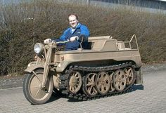 German Kettenrad.The SdKfz 2 was designed and built by the NSU Werke AG at Neckarsulm. It was first used in the invasion of the Soviet Union in 1941. Later in the war Stoewer also produced Kettenkrads under license, about 10% of the total production.Most saw service on the Eastern Front, where they were used to lay cables, pull heavy loads and carry soldiers through the deep Russian mud. Later in the war, they were used as runway tugs for aircraft, especially for the Me 262 jet fighters.