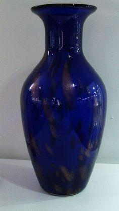 Large Cobalt Blue and Gold Isle of Wight Studio Glass Vase - Artmosphere Antiques Battlesbridge Essex