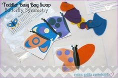 Toddler Busy Bag Swap, Part One Symmetry Activities, Pre K Activities, Diy Crafts For Kids, Craft Ideas, Butterfly Felt, Toddler Busy Bags, Art Projects, Projects To Try, Lillian Rose