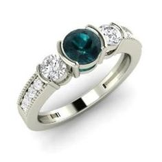 Rings - Rayelle - Blue Diamond Ring in 14k White Gold with SI Diamond (1.03 ct.tw.)