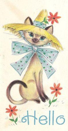 """""""Hello"""" Siamese cat in straw hat - Vintage Hallmark Greeting Card"""