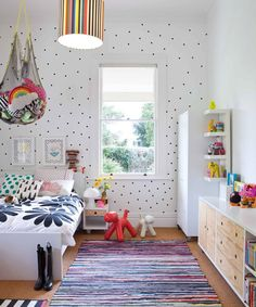 white and black polka dots + colorful details