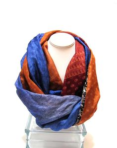 Silk infinity scarf from repurposed Indian sari in blue, rust and gray by Patchtique on Etsy.