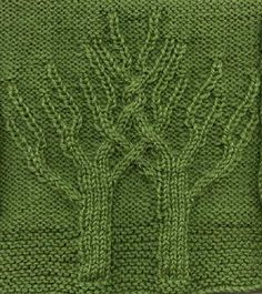 Free knitting pattern for an 8 inch afghan square with trees worked in cable stitches. Knit in dk or worsted weight yarn. Loom Knitting Stitches, Cable Knitting, Knitting Charts, Knitting Patterns Free, Knit Patterns, Free Knitting, Stitch Patterns, Knitted Afghans, Knitted Blankets
